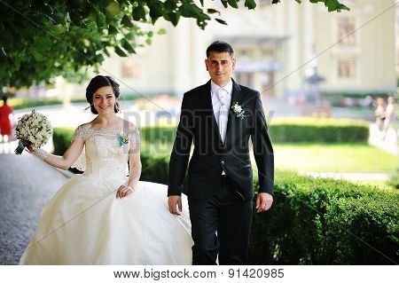 Walking Newlyweds