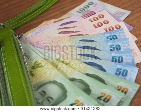 Thai Baht Money With Green Purse Of Rim, Banknotes