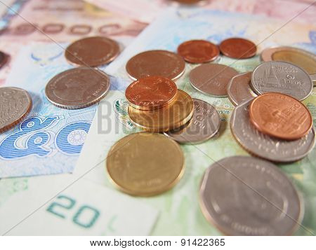 Coins On Banknotes, Thai Baht Money Background