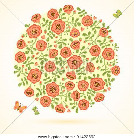 Vector card with floral bouquet and butterflies