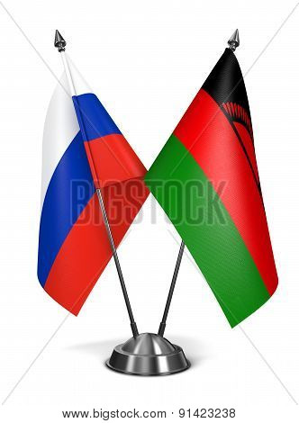 Russia and Malawi - Miniature Flags.