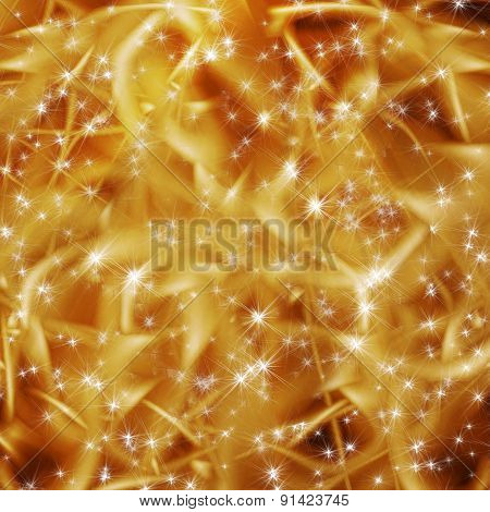Abstract Snowy Background With Snowflakes, Stars And Fun Beam