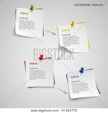 Info Graphic With Note Paper Template