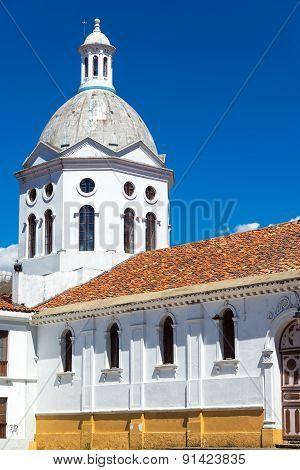White Church In Cuenca, Ecuador