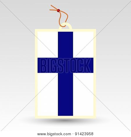 Vector Simple Finnish Price Tag - Symbol Of Made In Finland - Flag