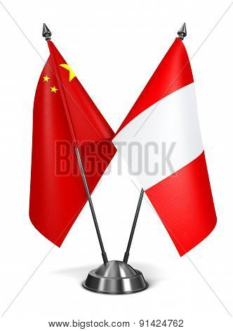 China and Peru - Miniature Flags.