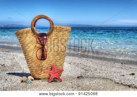 Straw Bag, Starfish And Shell By The Shore In Hdr
