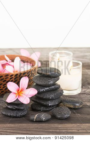 Spa With Black Stones And Candles