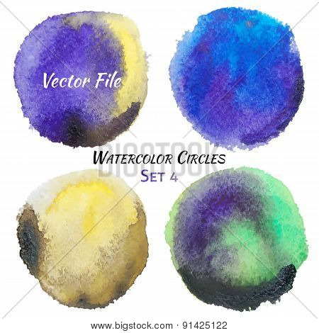 Watercolor Purple Yellow And Green Vector Colorful Circles Set