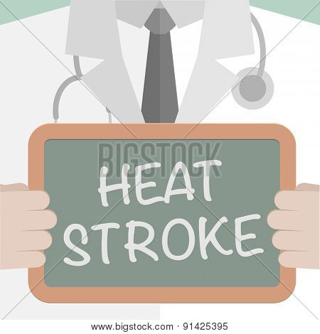 minimalistic illustration of a doctor holding a blackboard with Heat Stroke text, eps10 vector