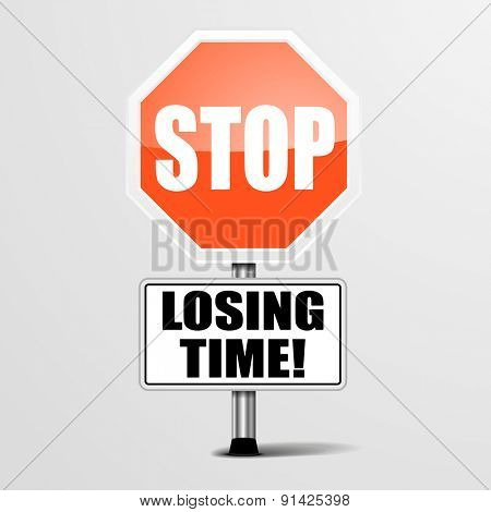 detailed illustration of a red stop Losing Time sign, eps10 vector