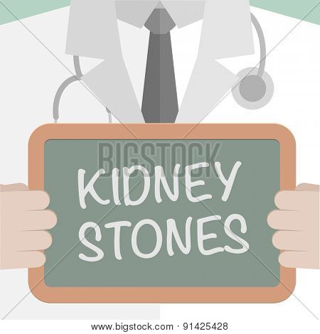 minimalistic illustration of a doctor holding a blackboard with Kidney Stones text, eps10 vector