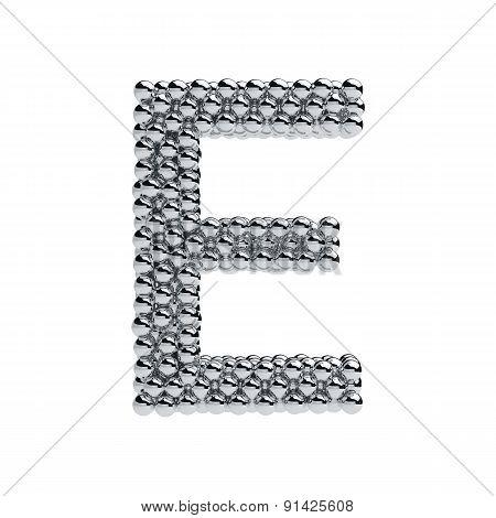 Metallic Spheres Alphabet Letter Symbol - E Isolated On White Background