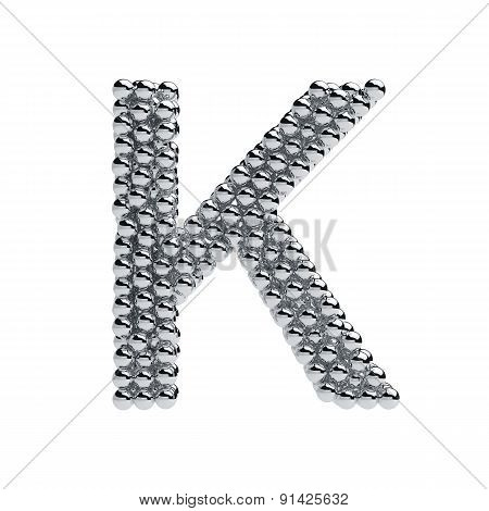 Metallic Spheres Alphabet Letter Symbol - K Isolated On White Background