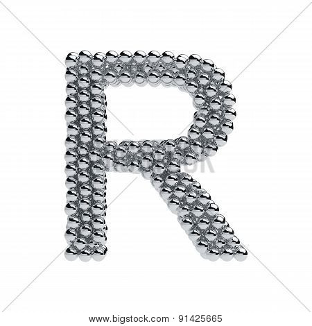 Metallic Spheres Alphabet Letter Symbol - R Isolated On White Background