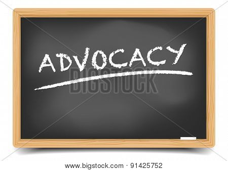 detailed illustration of Advocacy text on a blackboard, eps10 vector, gradient mesh included