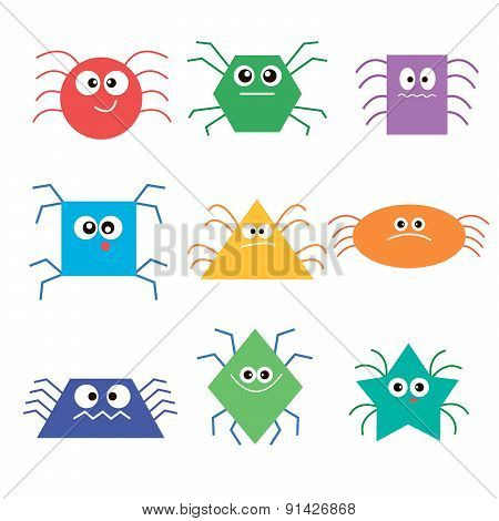 image of colorful fun beautiful spiders
