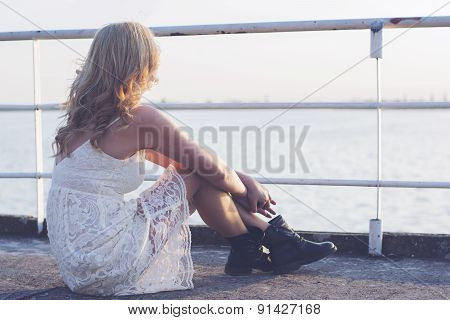 Blond Woman In Sunset
