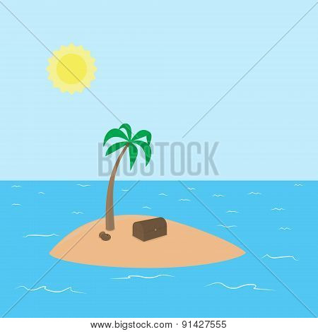 Pirate deserted tropical island with hidden treasure surrounded by the sea and sky