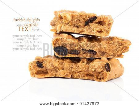 Caramel Candies With Raisins, Sweet Turkish Delights, On A White Background