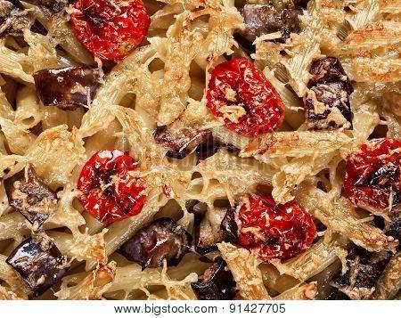 Italian Baked Penne Pasta Food Background