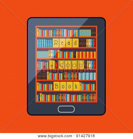 E-book reader. Library. Electronic book. Vector illustration