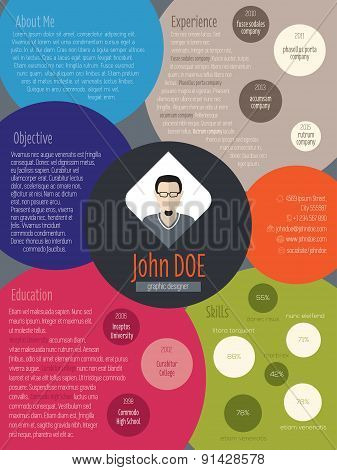 Modern Resume Curriculum Vitae Cv Ith Colored Circles
