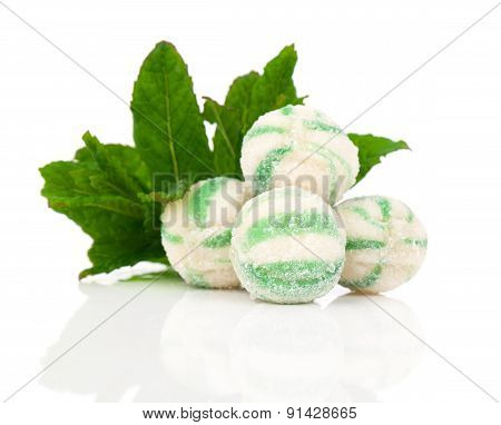 Peppermint Olorful Candies, On A White Background