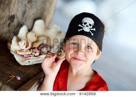 Portrait Of Playful Pirate Boy