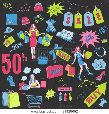 Colored Shopping doodles Sale, hand drawn style