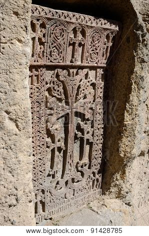 Stone Carving - Christian Cross In Geghard Monastery,central Asia,armenia,caucasus, Unesco Heritage