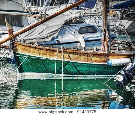 Wooden Boat In Alghero Harbor In Hdr