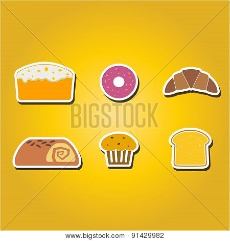 set of color icons with baking