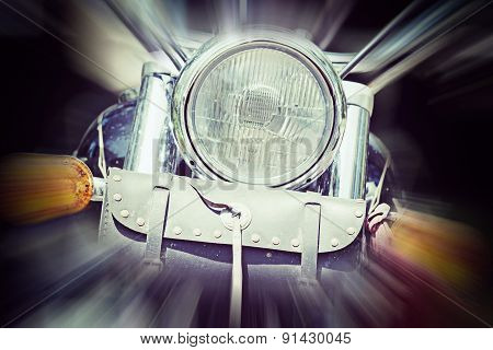 Front View Of A Classic Motorcycle In Motion Blur Effect