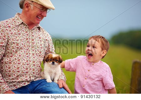 Grandpa And Grandson Playing With Little Puppy, Summer Outdoors