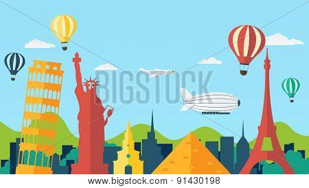 Travel And Tourism Background In Flat Style