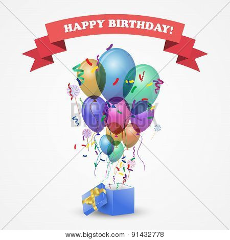 Template for Happy birthday card.