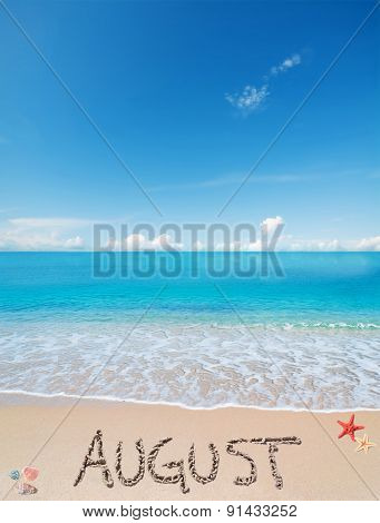 August On A Tropical Beach Under Clouds