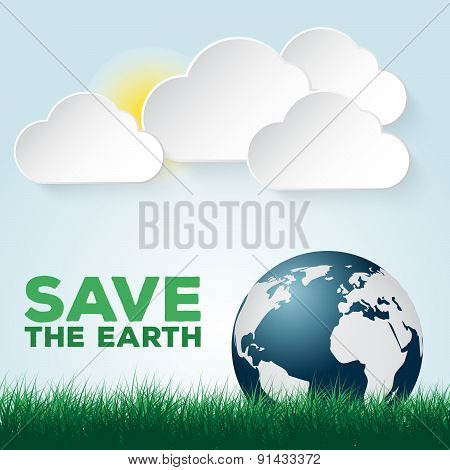 Save our Earth blue and green poster template.
