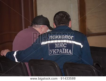 Donetsk, Ukraine - April, 11, 2014: Psychologists Ministry Of Emergency Situations Are Working With