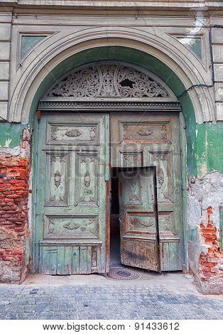 Medieval wooden door.