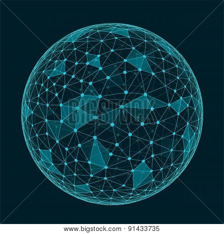 Abstract Geometric Polygonal Shape With Triangular Faces,  Connection Structure Sphere