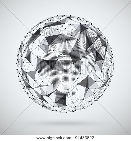 Global  Network, Sphere With A Pixel Map Inside. Abstract Geometric Spherical Shape. Globe Design.
