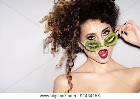 Fashionable Young Alluring Girl In Fruit Glasses
