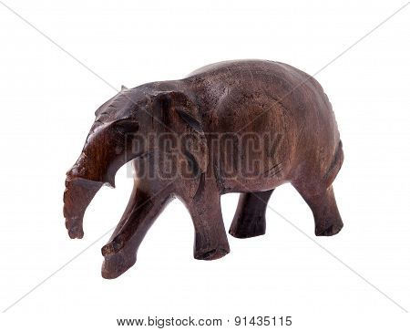 Elephant Carved Out Of Wood. African Handmade Souvenirs