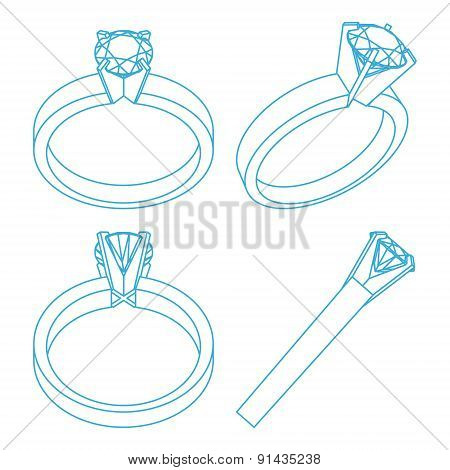 Diamond solitaire engagement rings projections