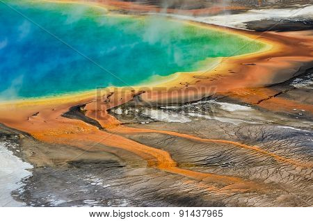 Detail View Of Grand Prismatic Spring In Yellowstone Np, Wyoming, Usa