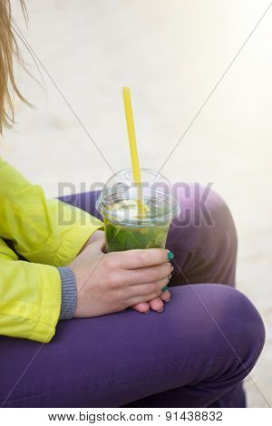 Drink Cocktail In Woman's Hands