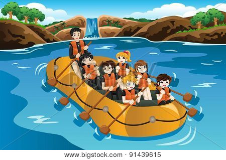 Kids Rafting In A River