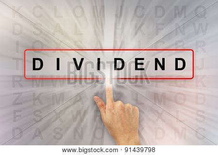 Hand Clicking Dividend Word